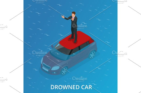 Isometric Drowned Car
