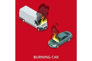Isometric Burning car on the road