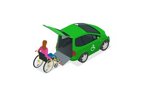 Isometric car for woman on wheelchair