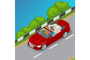 Isometric Cabriolet car