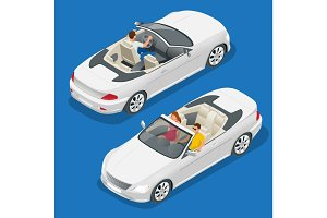 Cabriolet car isometric vector illustration. Flat 3d convertible image. Transport for summer travel. Sports car vehicle.
