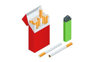 Lighters, cigarettes pack, cigarette isometric
