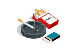 Isometric Box of matches, cigarettes pack, cigarette