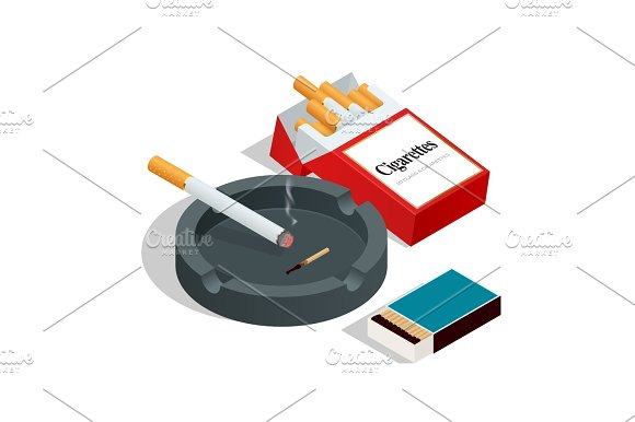Isometric Box Of Matches Cigarettes Pack Cigarette