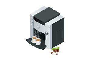 Isometric Coffee machine makes two  with  beans