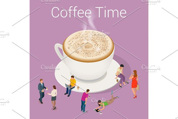Isometric Coffee Time Concept