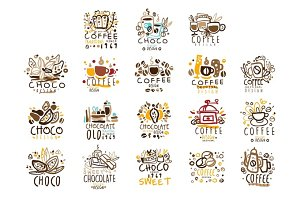 Chocolate Traditions Colorful Graphic Design Template Logo Series,Hand Drawn Vector Stencils