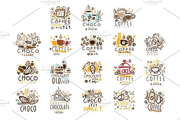 Chocolate Traditions Colorful Graphic Design Template Logo Series Hand Drawn Vector Stencils