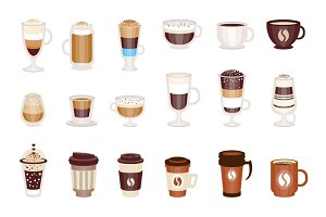 Coffee Hot And Cold Cocktails Menu Assortment Of Coffee Shop Cafe, Set Of Isolated Icons