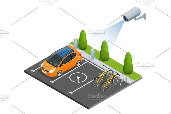 Isometric CCTV Security Camera Of Electric Car Parking