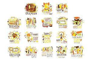 Happy Teachers Day Colorful Graphic Design Template Logo Set ,Hand Drawn Vector Stencils