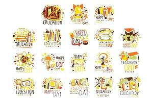Happy Teachers Day Colorful Graphic Design Template Logo Set ,Hand Drawn Vector Stencils