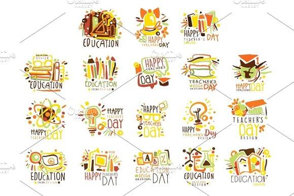 Happy Teachers Day Colorful Graphic Design Template Logo Set Hand Drawn Vector Stencils