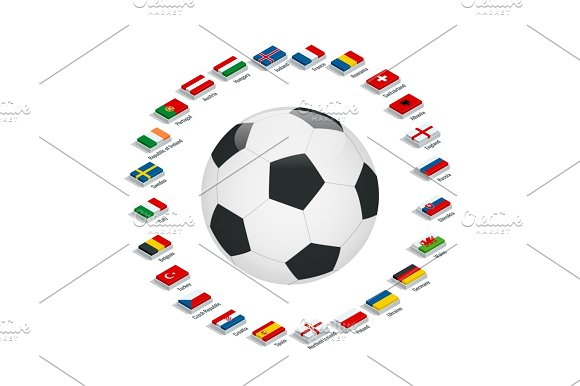 Euro 2016 In France Flags Of European Countries Participating To The Final Tournament Of Euro 2016 Football Championship