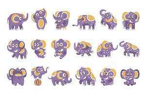 Stylized Elephant With Polka-Dotted Pattern Set Of Childish Stickers Or Prints Of Friendly Toy Animal In Violet And Yellow Color