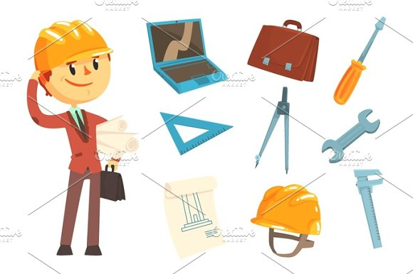 Professional Builder And Architect And His Tools Man And His Profession Attributes Set Of Isolated Cartoon Objects