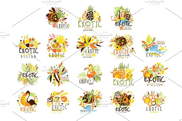 Exotic Summer Vacation Colorful Graphic Design Template Logo Series Hand Drawn Vector Stencils