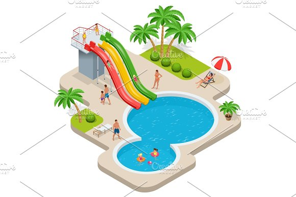 Isometric Concept Child With Parents On Water Slide At Aquapark