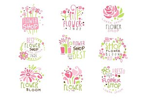 Flower Shop Green And Pink Colorful Graphic Design Template Logo Set, Hand Drawn Vector Stencils