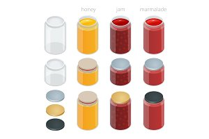 Glass jar with jam, configure or honey. Flat isometric illustration.