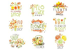 Flower Shop Red Yellow And Green Colorful Graphic Design Template Logo Set, Hand Drawn Vector Stencils