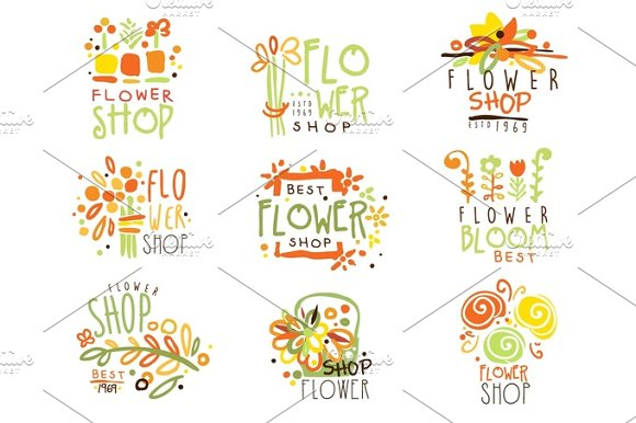 Flower Shop Red Yellow And Green Colorful Graphic Design Template Logo Set Hand Drawn Vector Stencils