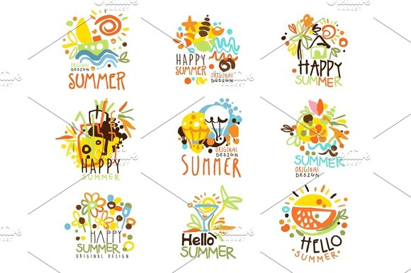 Happy Summer Vacation Sunny Colorful Graphic Design Template Logo Set Hand Drawn Vector Stencils