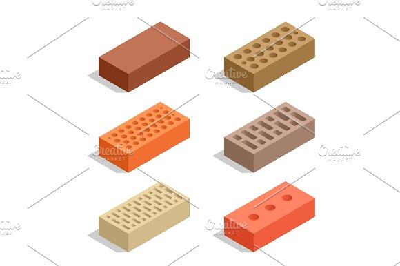 Isometric Bricks Isolated On White
