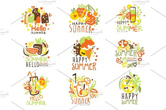 Happy Summer Vacation Sunny Colorful Graphic Design Template Logo Series Hand Drawn Vector Stencils
