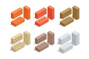 Bricks set isolated on white