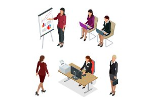 Business woman isometric set.