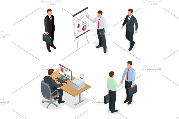 Business Man Isometric Set