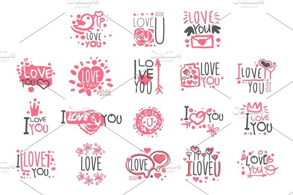 Romantic I Love You Message For St Valentines Day Postcard Colorful Graphic Design Template Logo Set Hand Drawn Vector Stencils