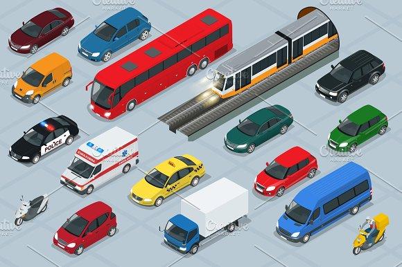 Car Icons Flat 3D Isometric High Quality City Transport