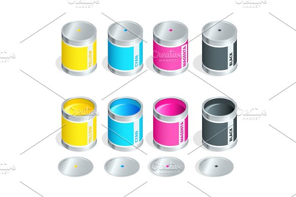 Bottles Of Ink In Cmyk Colors On White Isolated Background Flat 3D Vector Isometric Illustration