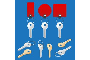 ollection of different house keys isolated on white background. Keys set. Flat 3d vector isometric illustration.
