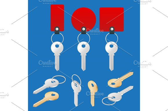 Ollection Of Different House Keys Isolated On White Background Keys Set Flat 3D Vector Isometric Illustration