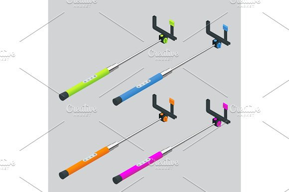 Vector Illustration Monopods With Phones For Selfie Selfie Stick Flat 3D Vector Isometric Illustration An Extensible Selfie Stick With An Adjustable Clamp On The End