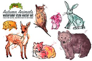 Autumn animal vector 8 pack
