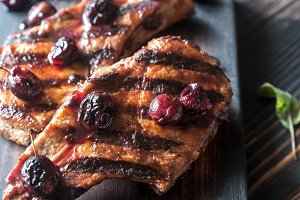 Plum-glazed ribs
