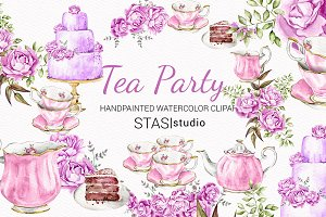 High Tea Watercolor Clipart