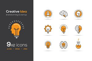 Creative idea vector icons set