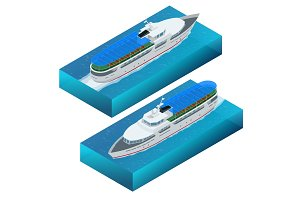 Isometric set of a pleasure boat. Flat vector illustration of pleasure boat tourist yacht to travel by sea transport