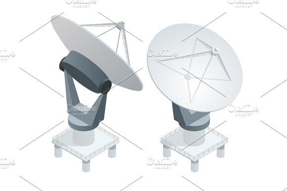 Isometric Satellite Dish Antennas On White Wireless Communication Equipments