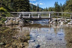 Wooden bridge at Morskie Oko lake