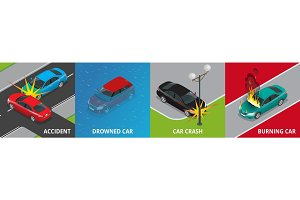 Isometric road accident, drowned car, car crash, burning car concept Vector illustration Accident road situation used for workflow layout, game, diagram, number options, web design and infographics