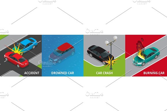 Isometric Road Accident Drowned Car Car Crash Burning Car Concept Vector Illustration Accident Road Situation Used For Workflow Layout Game Diagram Number Options Web Design And Infographics