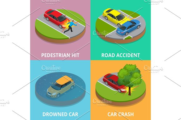 Isometric Pedestrian Hit Road Accident Drowned Car And Car Crash Concept Car Crash Template Vector Flat Style Used For Workflow Layout Game Diagram Number Options Web Design And Infographics