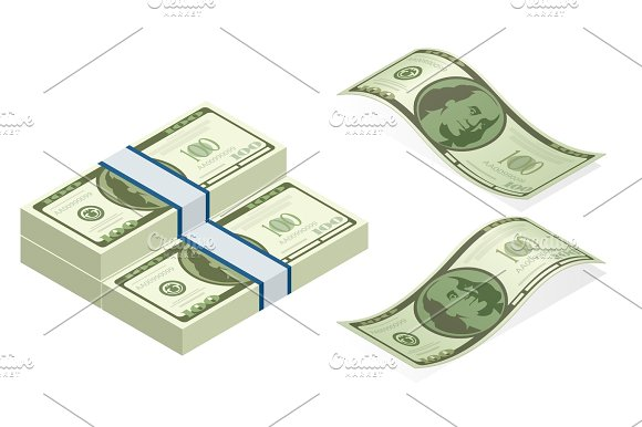 Isometric Vector Packages Of Banknotes Hundreds Of American Dollars Isolated On White Background Illustration Every Denomination Of US Currency Note Back Sides Of Money Bills