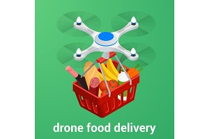 E-commerce concept order food online website. Drone delivery healthy food online service. Flat isometric vector illustration. Can be used for advertisement, infographic, game or mobile apps icon